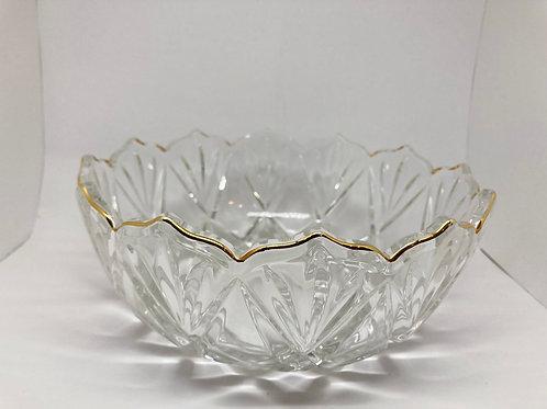 Vintage Scalloped Edged Crystal Cut Glass Bowl w/ Gold Rim