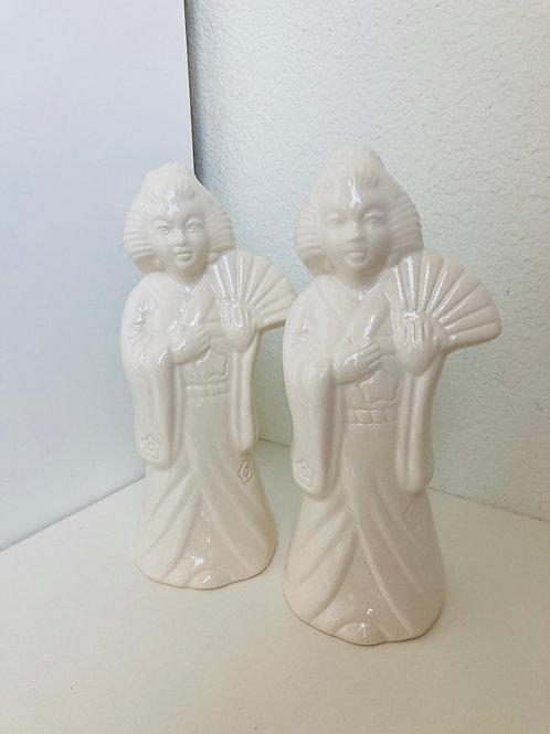 Set of 2 Vintage Benihana Geisha Girl Figurine Planters or Mugs