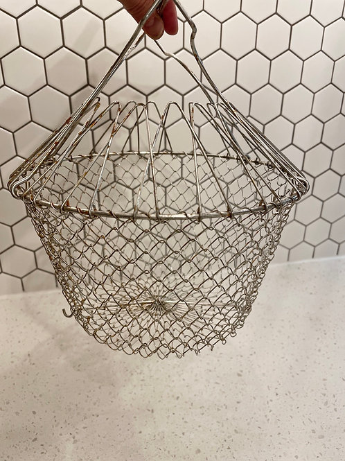 Vintage Collapsible French Metal Wire Egg Basket
