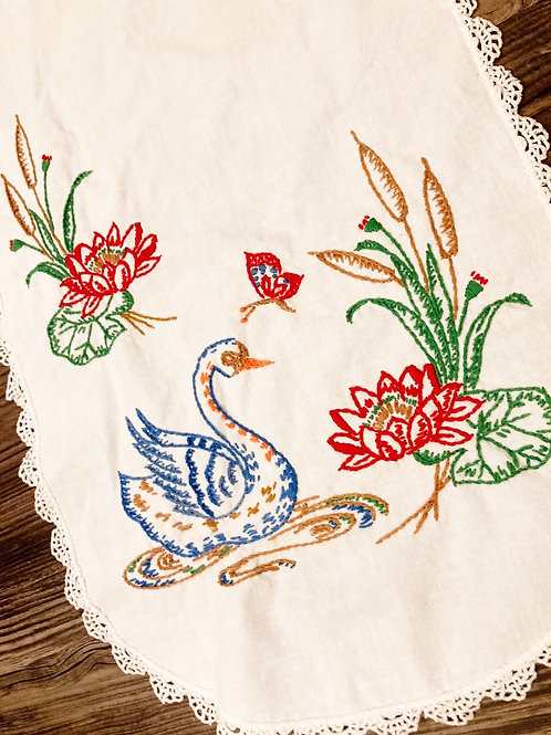 Vintage Hand Embroidered Swan Table Runner