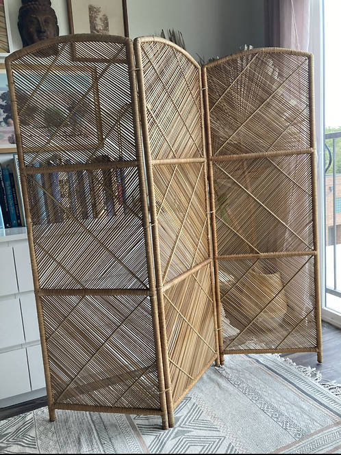 Vintage Wicker Mid-Century Modern 3 Panel Folding Screen