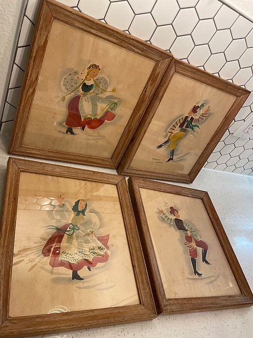 Set of 4 Vintage Watercolor Paintings Signed by Artist