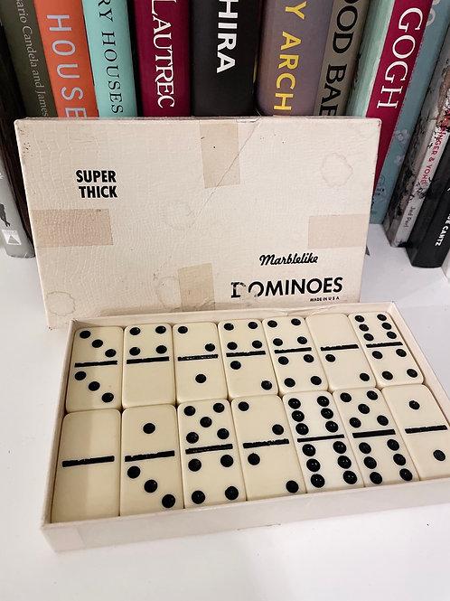 Vintage Bakelight Plastic Super Thick Marblelike Puremco Dominoes