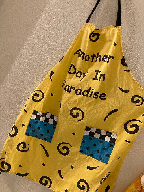 Vintage 80s Retro Another Day In Paradise Apron