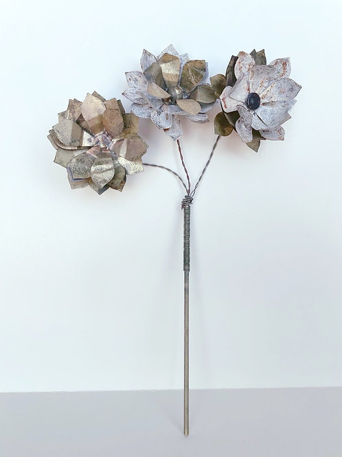 Set of 3 Hand-Made Brass and Zinc Metal Flowers