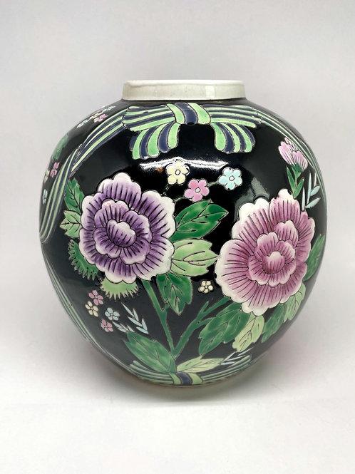 Vintage Black Floral Vase