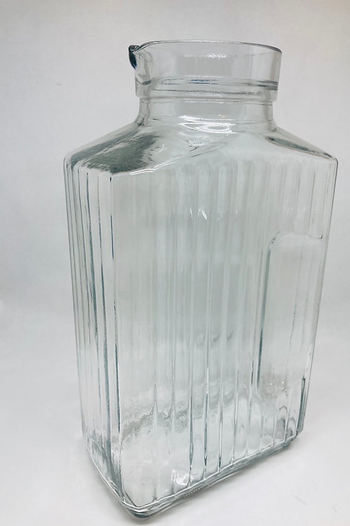 Vintage Anchor Hocking Ribbed Square Glass Pitcher
