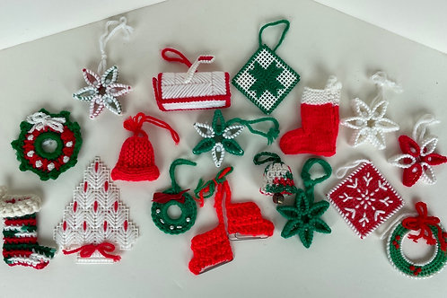 Set of 17 Vintage Crocheted Ornaments #2209