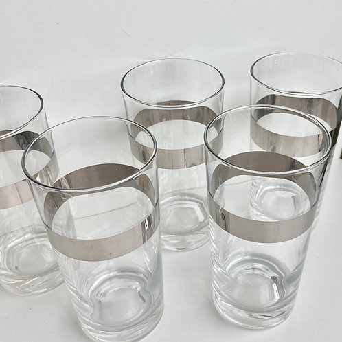 Set of 5 Vintage Silver Striped High Ball Glasses