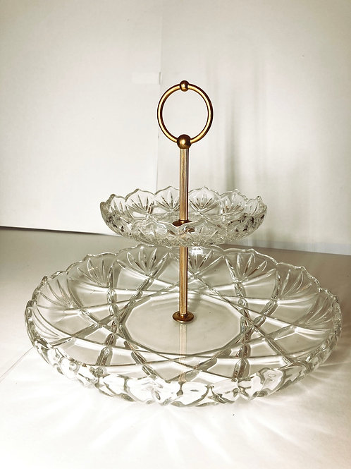 Vintage Two Tier Scalloped Edged Crystal Cut Glass Serving Tray