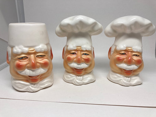 Vintage Rare Dept 56 Ceramic Chef Cuisine S&P Shakers & Small Jar