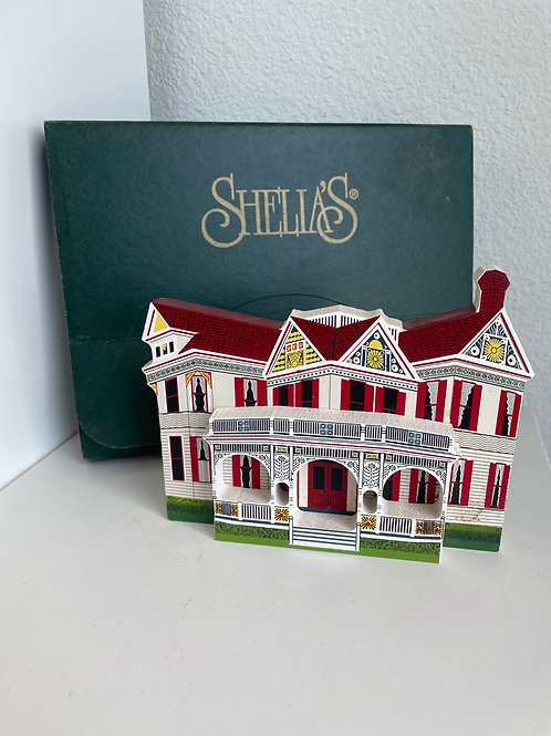 Vintage Shelia's Beissner House Collector's Hand Painted Wooden House
