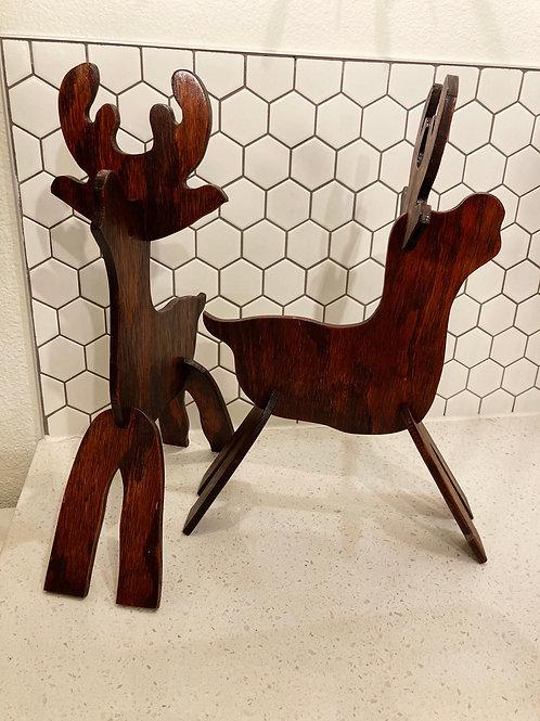 Set of 2 Vintage Wooden Put Together Reindeers