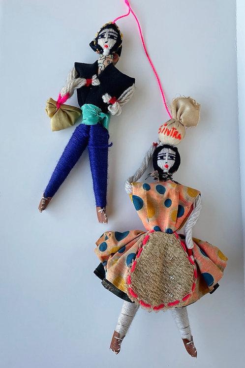 Set of 2 Vintage Hanging Handmade Dolls