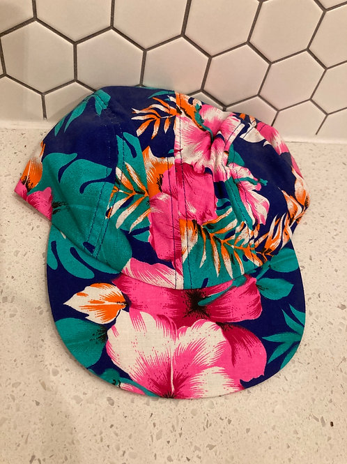 Vintage Wendy's Retro Blue Short Bill Hawaiian SnapBack Hat