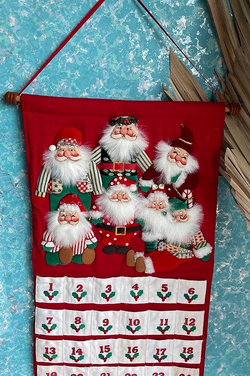 Vintage Potpour Press Cloth hanging Christmas Advent Calendar
