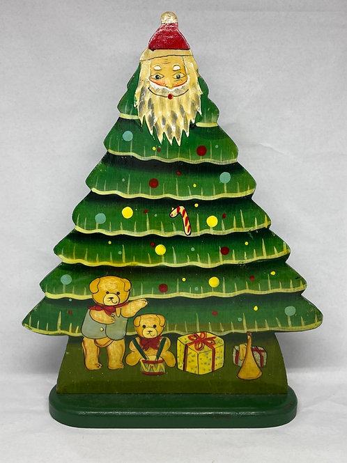 Vintage Hand Painted Wooden Christmas Tree