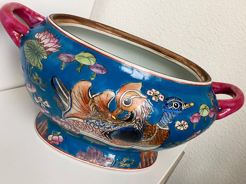 Vintage Chinese Hand Painted Foot Bath/Planter