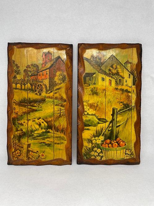 Set of 2 Vintage Prints on Wood