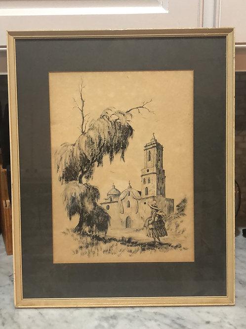 """Vintage """"Pilgrimage""""Drawing Framed"""