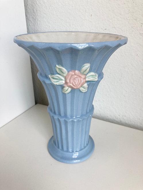 Vintage Made in Japan Blue Vase with Flower