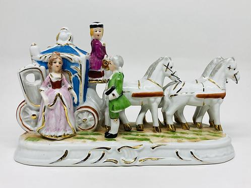 Vintage Porcelain Victorian Couple w/ Horse & Carriage