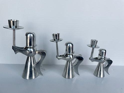 Set of 3 Vintage Silver Angel Candlestick Holders