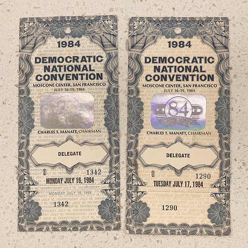 Set of 2 1984 Democratic National Convention Delegate Official Ticket