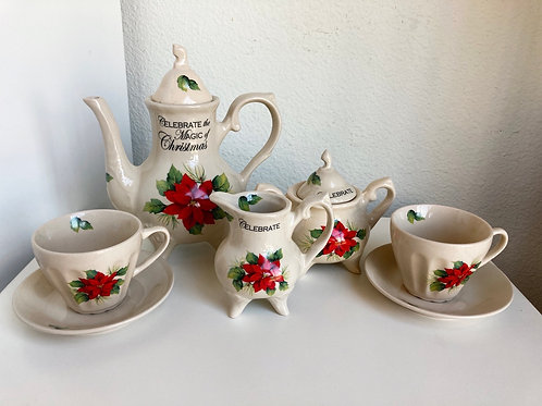 Celebrate the Magic of Christmas Vintage 7 Piece Lily Creek Tea Set
