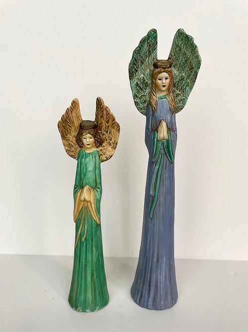 Set of 2 Vintage Ceramic Tall & Lean Angels Figurines