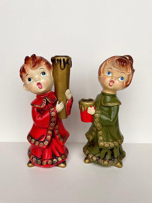 Vintage Parma by AAI Paper Mache Choir Boy & Girl Candlestick Holders
