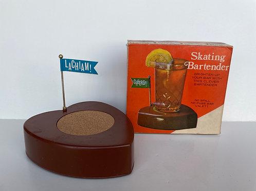 Vintage 1970s Skating Bartender Windup Drink Delivery Coaster