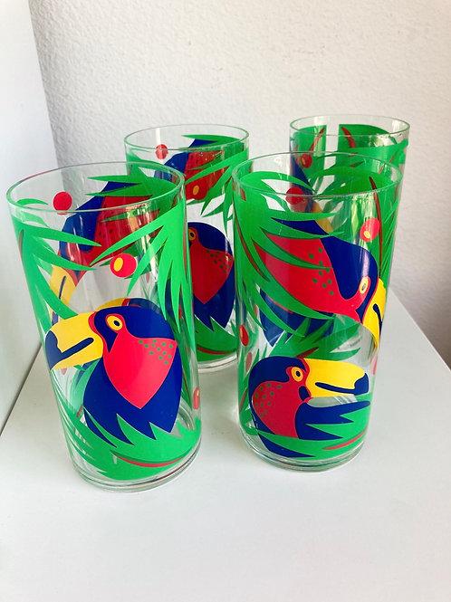 Vintage Parrot Plastic Drinking Glasses