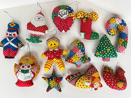 Set of 12 Handmade Fabric Stuffed Ornaments #2202