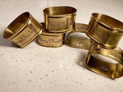 "Set of 6 Vintage Brass ""Merry Christmas"" Napkin Ring Holders"