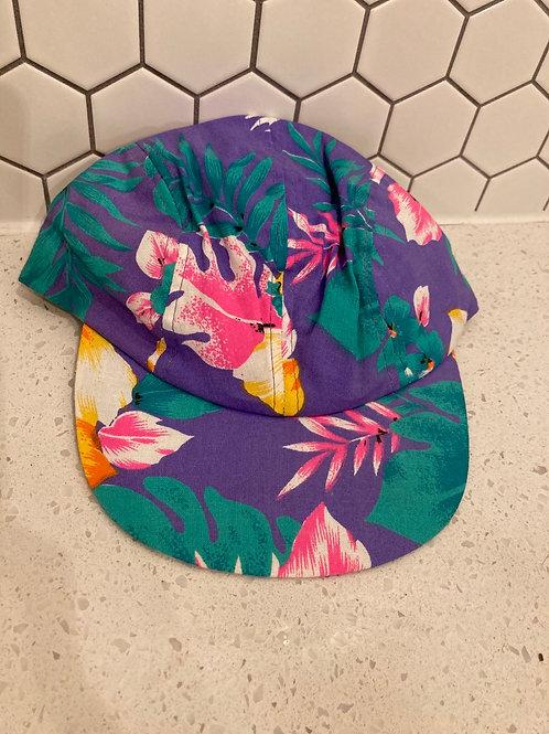 Vintage Wendy's Retro Purple Short Bill Hawaiian SnapBack Hat