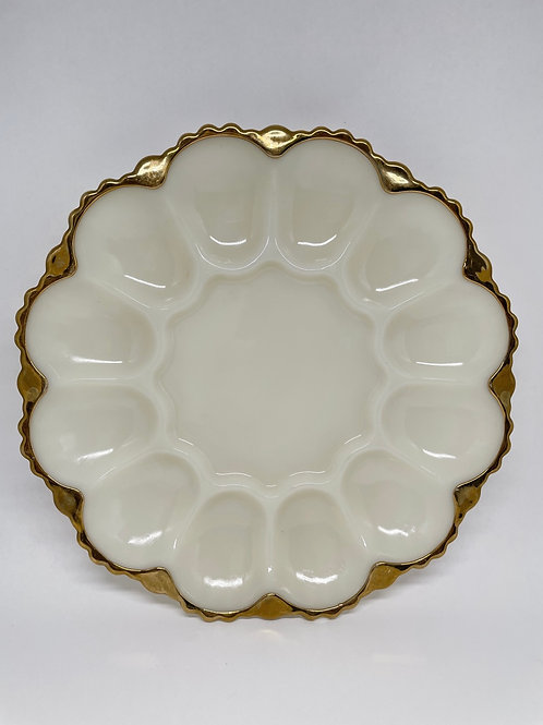 Vintage White Milk Glass Egg Plate w/ Gold Trim