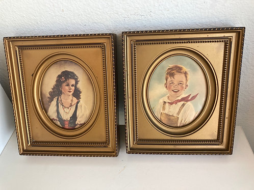 Set of 2 Vintage C&A Richards Portaits: Jack and Elena