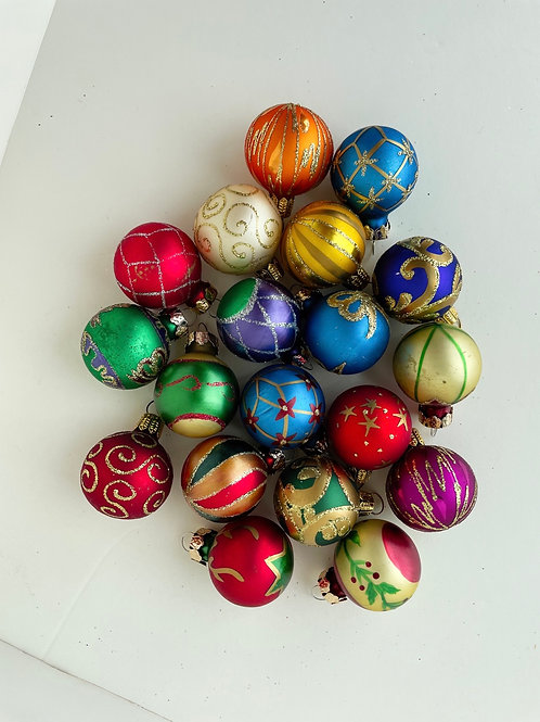Set of 19 Vintage Small Glass Ball Ornaments #2208