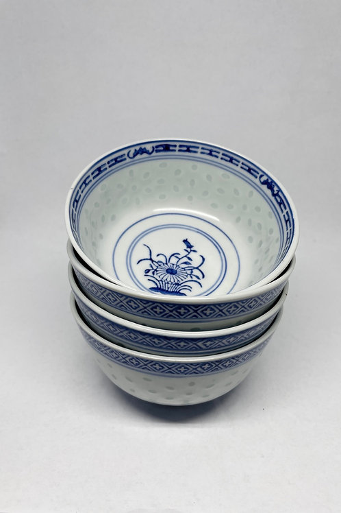 Set of 4 Vintage Blue and White Bowls