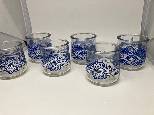 Set of 6 Vintage Blue Designed Glass Tea Light Holders