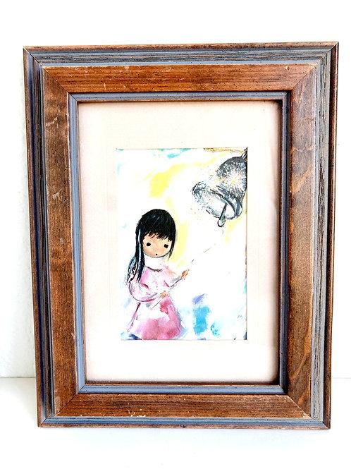 Vintage Little Girl Ringing Bell Framed Print