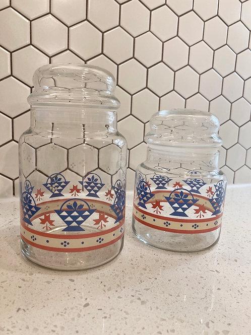Set of 2 Vintage Kitchen Canister's w/ Lids
