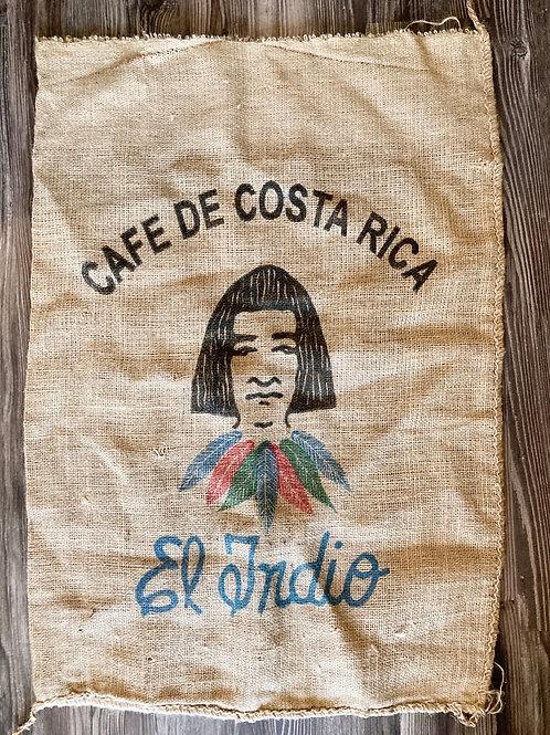 Vintage Cafe De Costa Rica Coffee Bean Burlap Bag