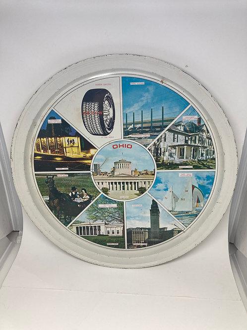 Vintage Ohio Metal Tin Round Tray