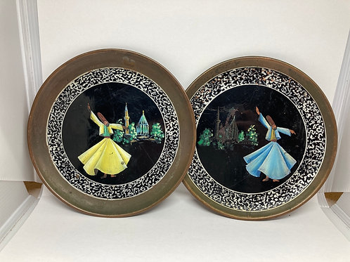 Set of 2 Vintage RARE Turkish Hand Painted Metal Hanging Plates