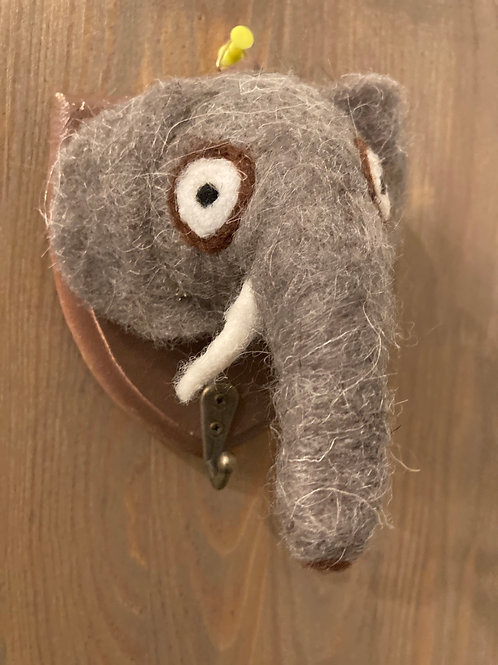 Small Felted Elephant Wall Mount w/ Hanging Hook