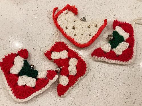 Set of 4 Vintage Handmade Crocheted Stocking Ornaments
