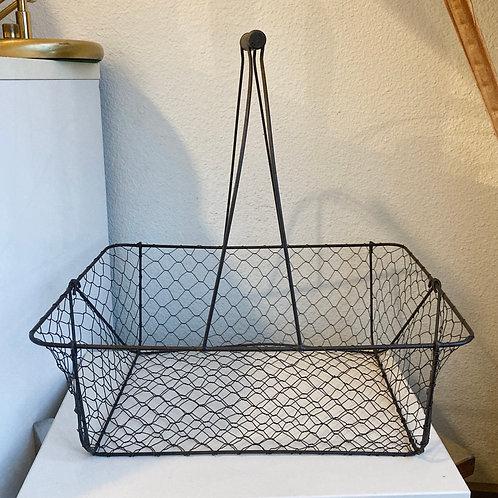 Vintage Large Wire Rectangular Basket w/ Handle