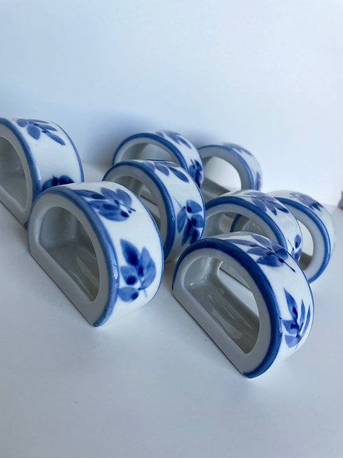 Set of 8 Vintage Blue & White Porcelain Napkin Holders